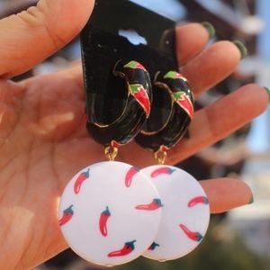 ANTHRO Earrings Chili Pepper hoops dangle earrings